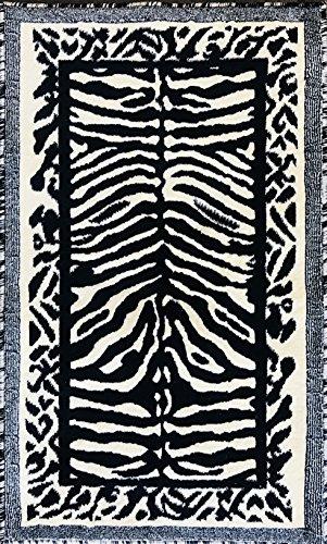 (Kingdom Zebra Animal Print Door Mat Rug Black & Off White Design D142 (2 Feet X 3 Feet 4 Inch) )