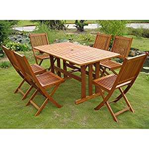 International Caravan Royal Tahiti Zamora 7-Piece Dining Set in Stain