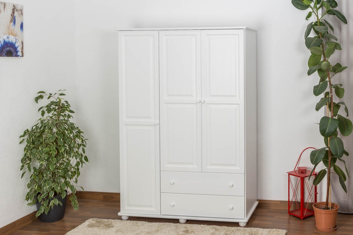 Kleiderschrank Kiefer Vollholz massiv weiß lackiert Junco 06 ...