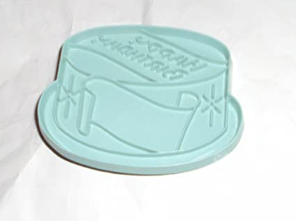 Stanley Home Products Plastic Imprint Cookie Cutter Happy Birthday Cake Blue
