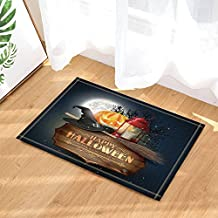 Halloween Decor Bath Mat By KOTOM Collection Of Halloween Witch Hat Pumpkin Full Moon And Wooden Board With Letters Non-Slip Floor Entryways Outdoor Indoor Front Door Mat, 60x40cm Bath Rugs