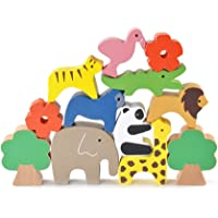 NUOLUX Wooden Animals Stacking Blocks Balancing Games Playset Montessori Toy for Baby Toddlers Set