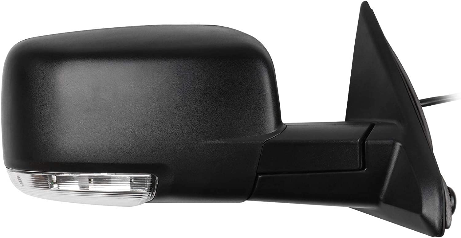 LSAILON Right Side Mirror Passenger Side Mirror Fits for 2009-2010 Dodge Ram 1500 2011-2013 Dodge Ram 1500 3500 2011-2015 Dodge Ram 2500 Manual Folding Power-Heated Turn Signal Light CH1321303