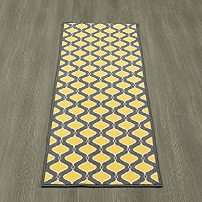 """Ottomanson Studio Collection Trellis Design Runner Rug, 20"""" X 59"""", Grey & Yellow - Functional features such as stain-resistance, non-slip rubber back, non-shedding and fade resistant low profile surface pile are brilliantly combined with chic fashionable or traditional designs and elegant colors. 