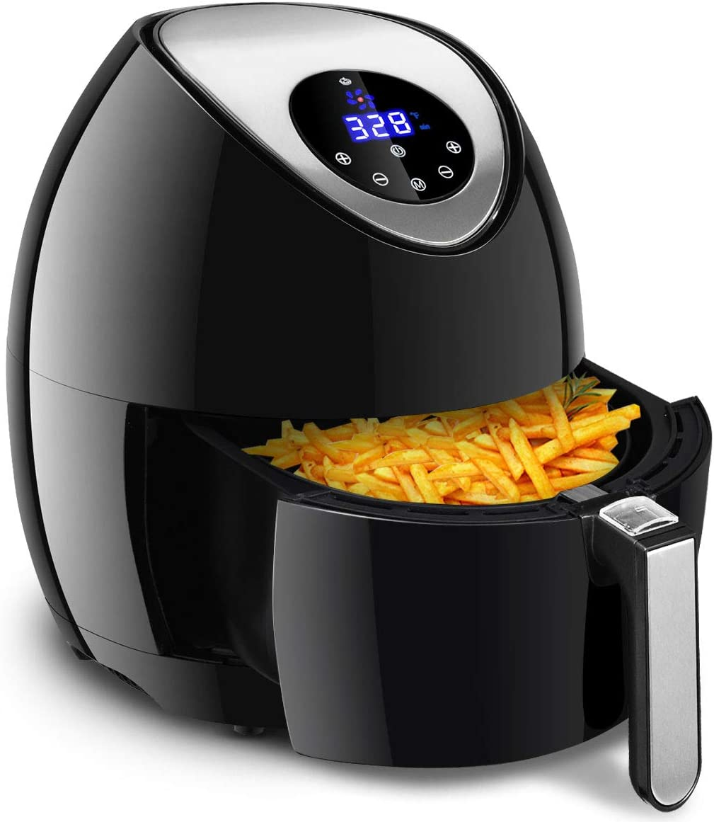 Costzon 7-in-1 Air Fryer, UL Certified, 3.4 Quart 1400W, Healthy Oil Free Cooking, Electric Deep Cooker with LCD Touch, Temperature and Time Control, Dishwasher, Detachable Basket Handle