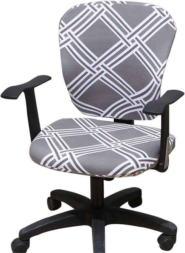 Jinzio Computer Office Chair Cover - Split Protective & Stretchable Cloth Polyester Universal Desk Task Chair Chair Covers Stretch Rotating Chair Slipcover, Smoky Grey