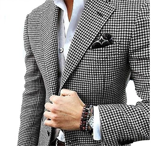 Mens Checkered Suit Houndstooth Custom Made Men Dress Suits,Tailored Casual Men Wedding Tuxedos Duotone Weave Hounds Tooth Check(L) for $<!--$85.99-->