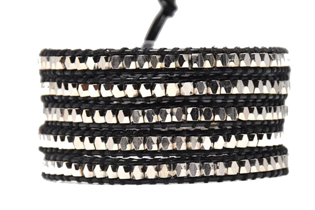 Blupear BR-NW0417108 Silver Nugget Wrap Bracelet Metal beads Handmade in a Black Leather 5 leayers Fashion Woven Bangle