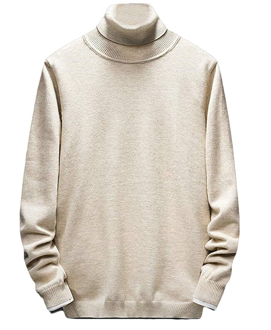 Etecredpow Mens Warm Winter Knitwear Solid Color Jumper Pullover Turtle Neck Sweater