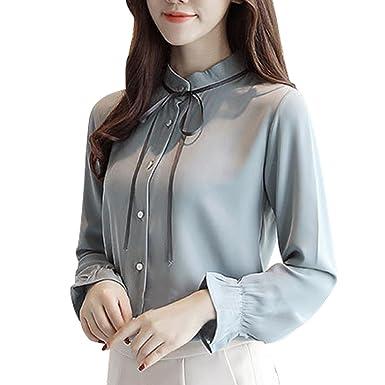 1e29a05ef4ed90 NPRADLA 2018 Damen Lace up Solid Langarm Chiffon Floral Arbeit Fliege Shirt  Top Bluse