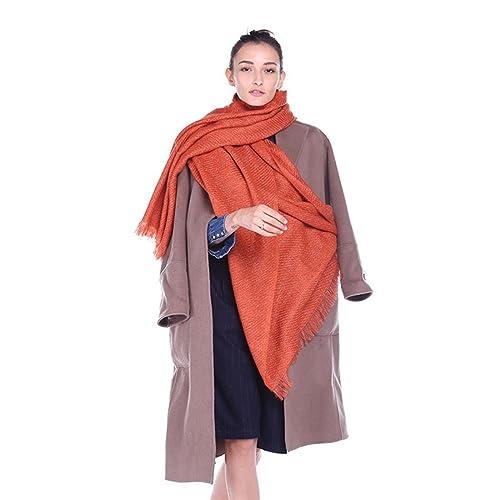 Sciarpa fringata di colore solido della signora elegante di autunno e di inverno multifunzionale a forma di scialle di aria condizionata calda , 8