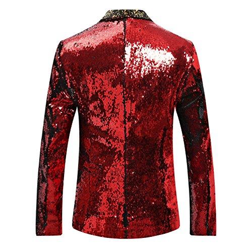 De Rouge Cérémonie Paillettes Costume Veste Élégant Mariage En dvTfwq