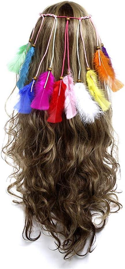 Diadema floral para el pelo Indio pluma tocado collar de la ...