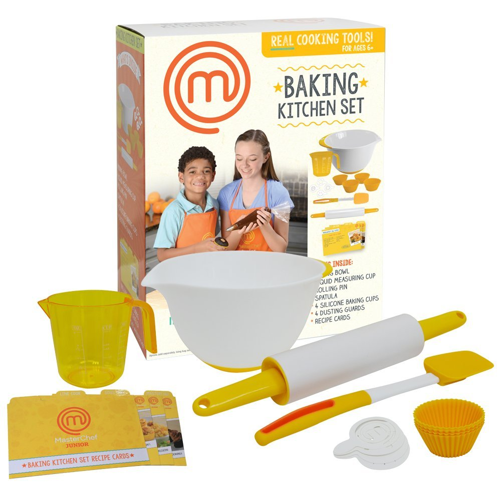MasterChef Junior Baking Kitchen Set - 7 Pc. Kit Includes Real Cooking Tools for Kids and Recipes 56401