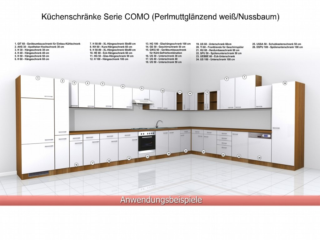 Küchen unterschrank ohne arbeitsplatte  Küchen Unterschrank 50 cm Weiss Nussbaum ohne Arbeitsplatte - Como ...