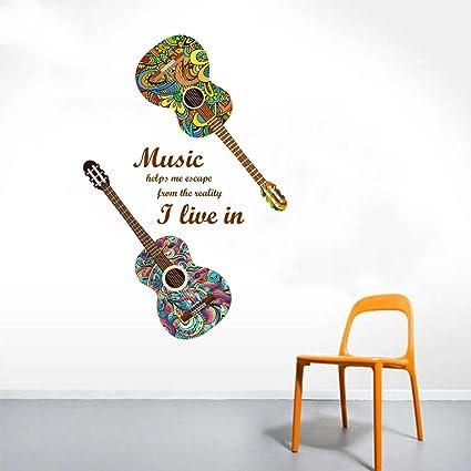 Rawpockets Guitar n Music Wall Sticker (Paper Print, 130 cm x 75cm)