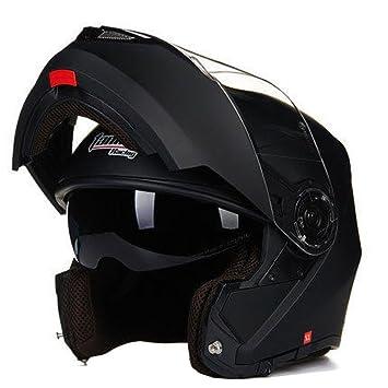 YUJIE Casco Mate Negro De La Motocicleta, Casco Modular Personalizado De La Motocicleta Del Jet