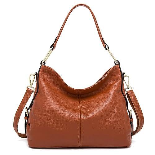 4d3d02d6bccfc QI WANG Bolsos de cuero genuino para las mujeres bolsos de piel de vaca  bolsos de hombro suave bolsos de hombro  Amazon.es  Zapatos y complementos
