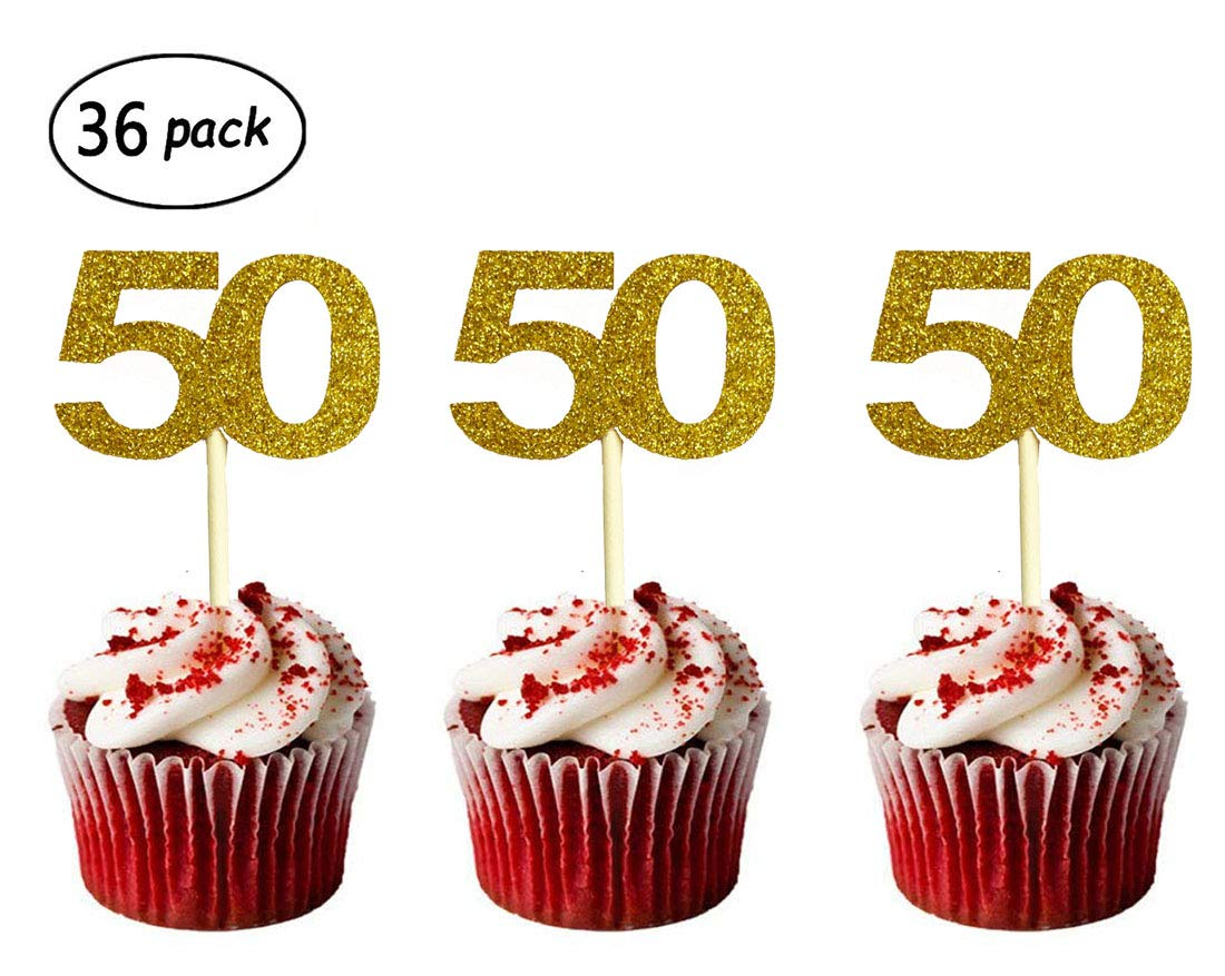 Amazon 36 Pack Gold Glitter 50th Birthday Cupcake Topper Cake Picks For Party Supplies Beauty