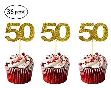 Amazon 36 Pack Gold Glitter 50th Birthday Cupcake Topper Cake