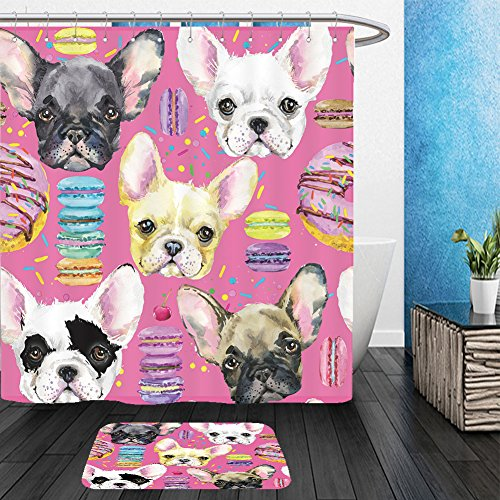 Vanfan Bathroom 2 Suits 1 Shower Curtains & 1 Floor Mats cute dog seamless pattern french bulldog puppy watercolor illustration fashion print sweet 407298328 From Bath room by vanfan