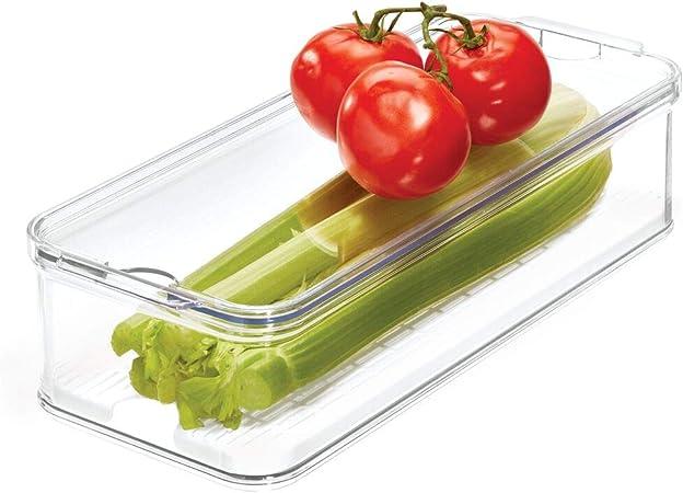 iDesign Caja de Almacenamiento apilable para armarios de Cocina o Nevera, Caja organizadora de Alimentos de plástico, Recipiente con Tapa y Bandeja Interior, Transparente y Blanco: Amazon.es: Hogar