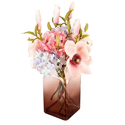 c3db1d994ff03 Fresh home , Artificial Flowers with Vase,Fake Hydrangea Mangnolia with  Brown Gradients Vase, Faux Flower Arrangements for Home Decor, Brown, Large
