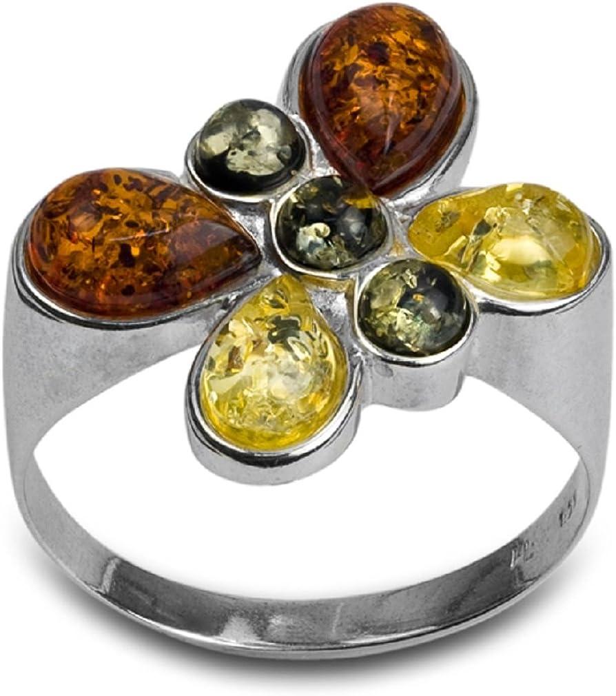 Noda anillo de plata con ámbares multicolores Mariposa
