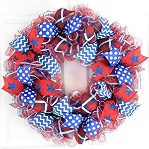 Fourth of July Independence Day Stripe Mesh Door Wreath; red white blue : J2 29