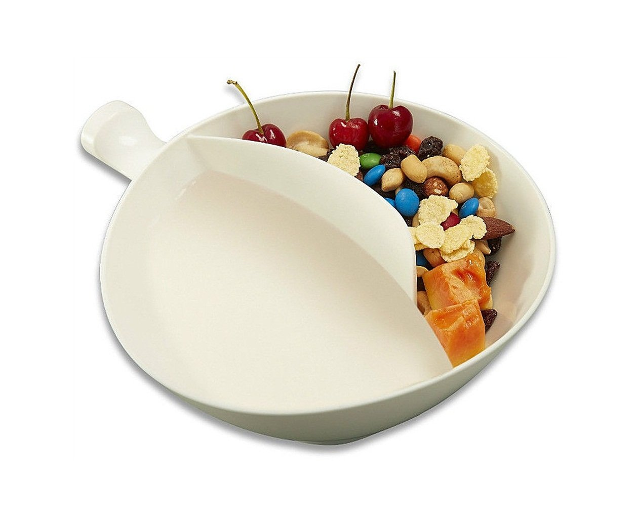 ABTP Anti-Soggy Cereal Bowl with Ergonomics Handle Design & Grip Soggy 2 Compartment White