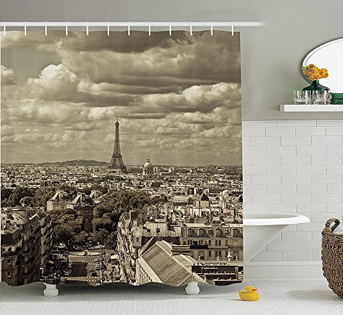 [Paris Decor Collection City Skyline of Paris with Eiffel and Dark Cloudy Weather Capital France Historical Retro Photo Polyester Fabric Bathroom Shower Curtain Set with Hooks] (Party City Indian Costume)