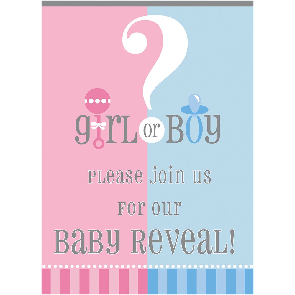 Amazon.com: Gender Reveal Invitations, 8ct: Kitchen & Dining