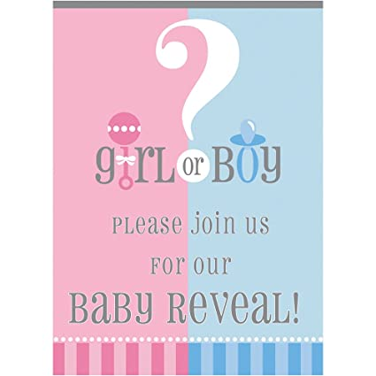 gender reveal invitations 8ct