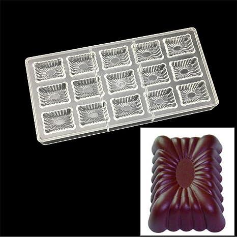 ecosway corrugado forma cuadrada 3d policarbonato transparente Chocolate molde Jelly Candy Making molde DIY moldes para