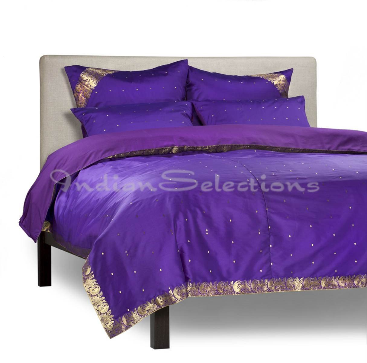 Purple - 5 Piece Handmade Sari Duvet Cover Set with Pillow Covers / Euro Sham - King