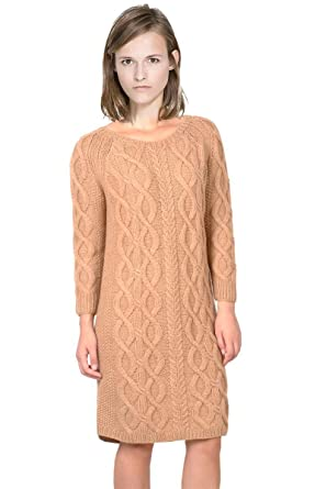 53e1e9e52d5 VVLOV Women s Cable Knit Sweater Dress O Neck 3 4 Sleeve Pullover Made of  Wool
