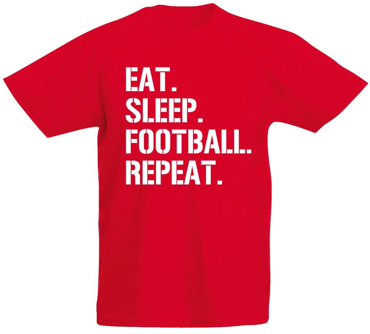 loltops Eat Sleep Football Repeat Gift T-Shirt for Boys, Kids