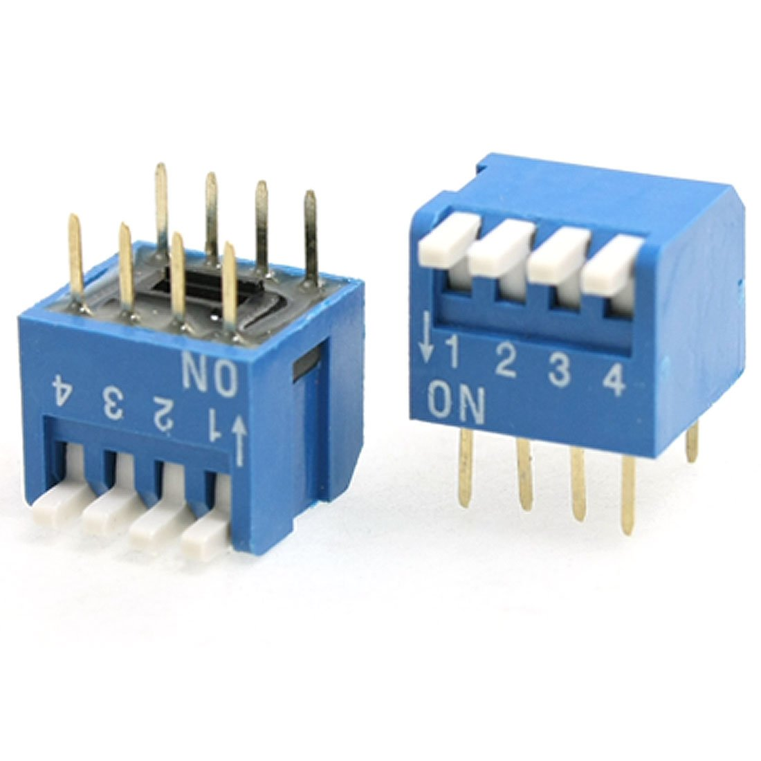 Uxcell 10 Pcs Blue 4 Positions 2.54 mm Pitch Side PIANO Type Dip Switch a11123000ux0294
