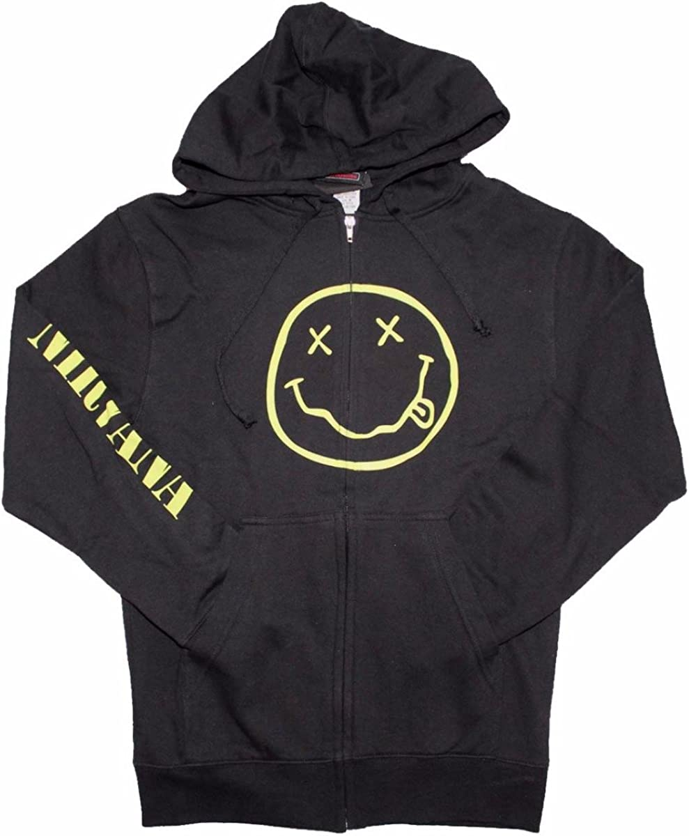Nirvana Floating Horses Black Zip Up Sweatshirt Hoodie New Official Band Merch