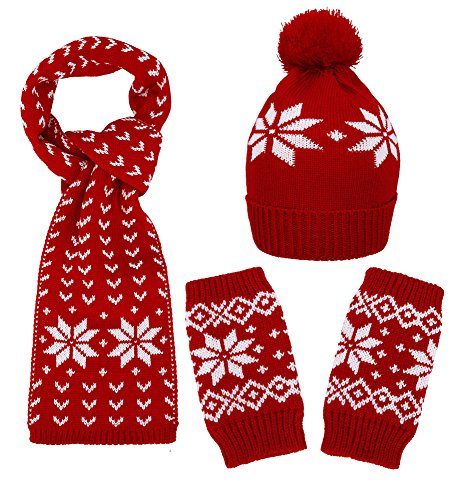 Simplicity Winter Adult/Child Snowflake Knit Set Scarf, Gloves & Beanie