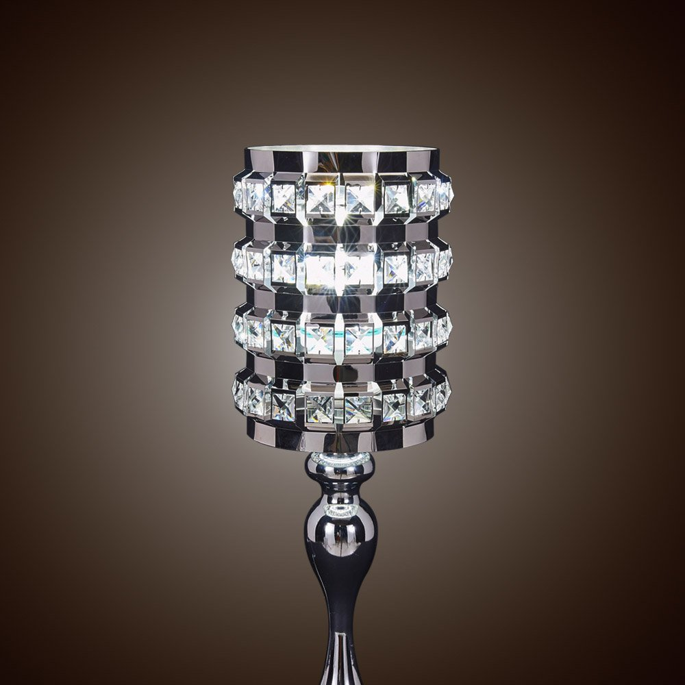 SwanHouse Crystal Chandelier Silver Modern Classic Table Lamp BSH-KOQ-W7xH19 by SwanHouse (Image #2)