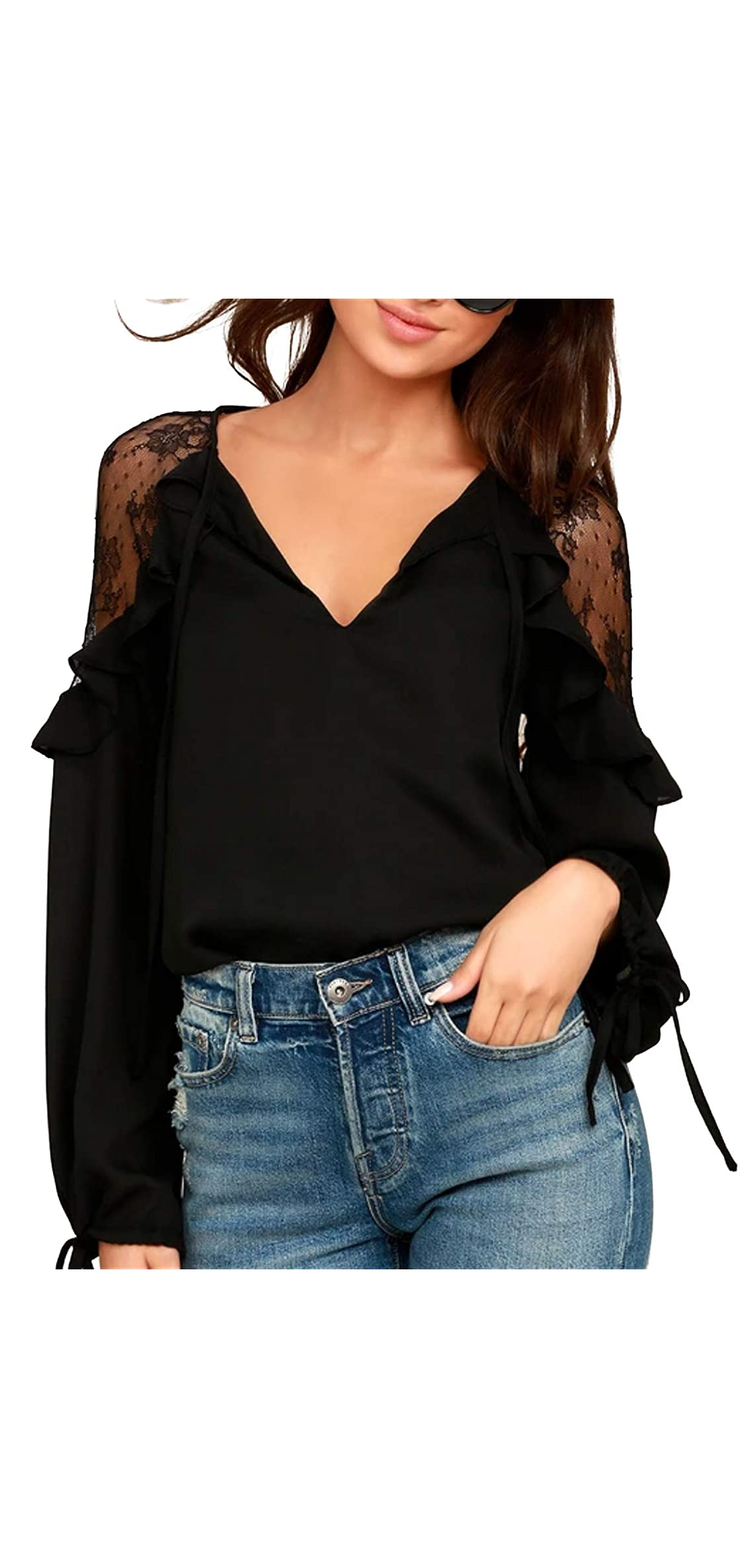 Womens Black Lace Top Tie V Neck Long Sleeve