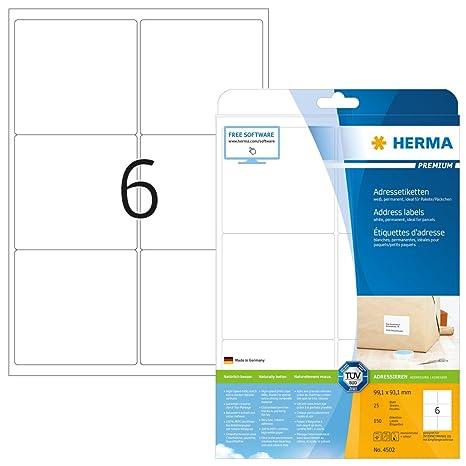 Klebeetiketten DIN A4 weiß 99,1x93,1mm Laser Inkjet Kopierer 1000 Blatt