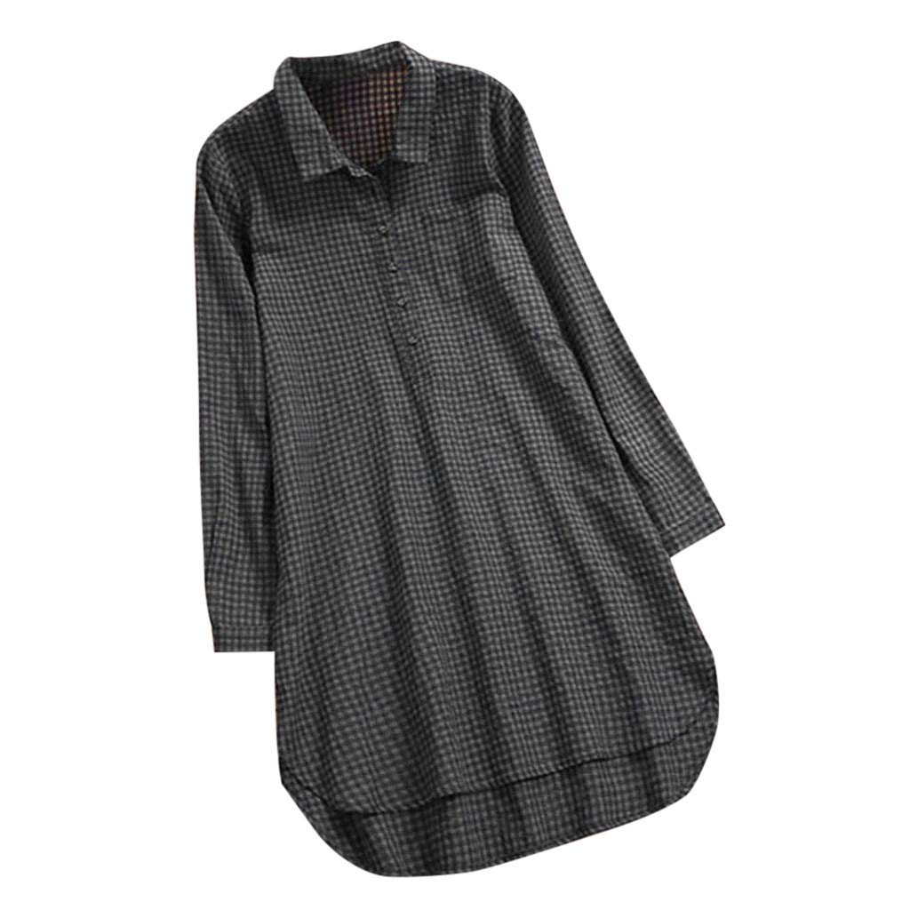 Franterd Women Solid Blouse Casual Lattice Button Stand Collar Long Sleeve Loose Tunic Tops T Shirt Asymmetry Hem by Franterd
