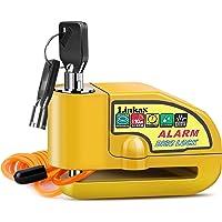 Linkax Candado Moto,110dB Alarma Antirrobo Candado de Disco de Moto con 1.5M Cable,Cerradura con Alarm,Alarm Lock para…