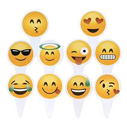 Amazon.com: Emoji Cupcake Topper 50 PCS Big Smileys Toppers Popular Emoticon Themed Party Cupcake Picks Cute Cake Decoration: Kitchen & Dining