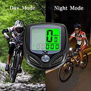 Premium Bicycle Odometer and Speedometer, Wireless Backlight Waterproof Cycle Bike Computer with Large LCD Display And Multi-Functions