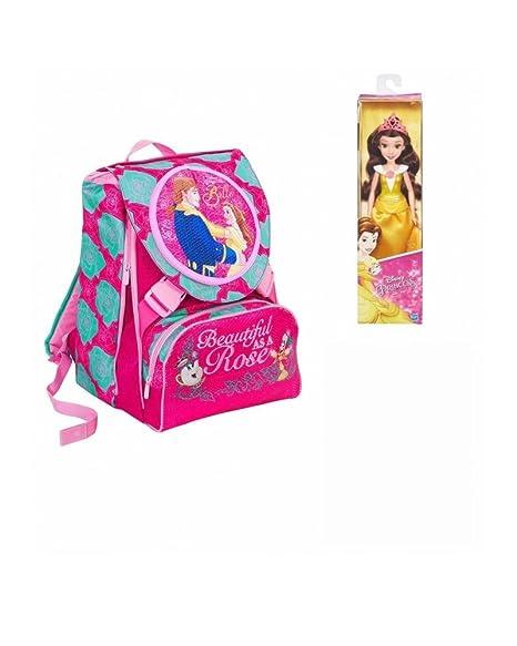 Seven Disney La Bella y La Bestia Mochila Dividido con Muneca en Regalo Mochilla Bolso Escolar