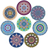 Coasters For Drinks, Absorbent Ceramic Stone with Cork Backing,Prevent Furniture from Dirty and Scratched, Mandala Style,Use as Elegant Home Decor,Coaster Set of 8