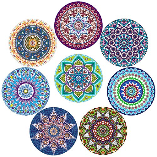 Coasters for Drinks,Absorbent Ceramic Stone with Cork Backing Mandala Style Coaster, Suitable for Kinds of Cups and Mugs,Protect Your Furniture from Spills Scratches Water Rings and Damage, Set of -